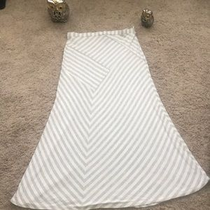 gray /white striped maxi skirt